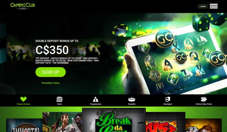 Gaming Club Casino Website - Mobile