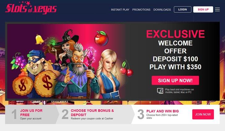 Slots Of Vegas Casino Website - Mobile
