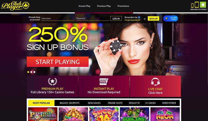 Club Player Casino Website - Mobile